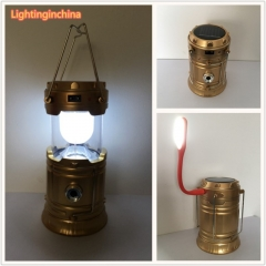 Licer Led Portable Rechargeable Solar Camping Lantern Camping Lamp 6 Leds Hiking Camping Flashlight Gold One Style