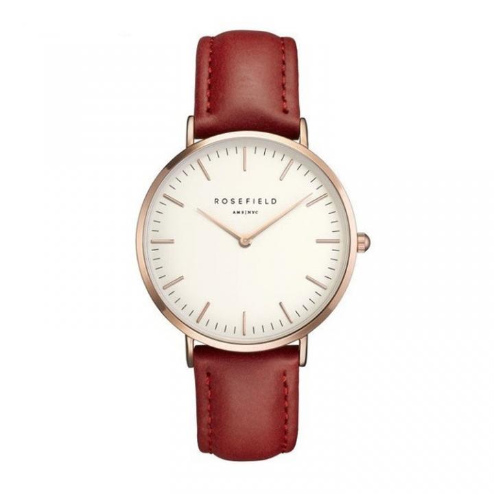 Rosefield Brand Women Simple Fashion Style Watch Leather Waterproof Quartz Movement Watch Red