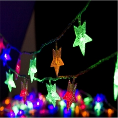 5M 50LED Battery Box Five-pointed Star Colorful Flashing Light Strings Use For Festival Decoration Colorful 500cm 6w