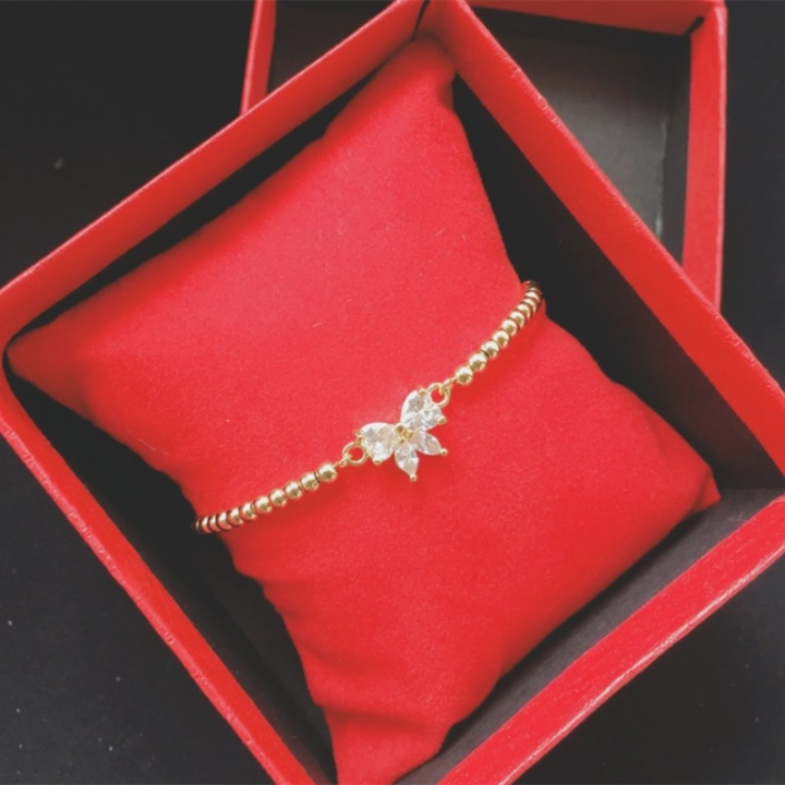 Women Fashion Diamond Silver Plated Pure Copper Butterfly Bracelet Ladies Decor Exquisite Jewelry Gold 17cm(Adjustable)