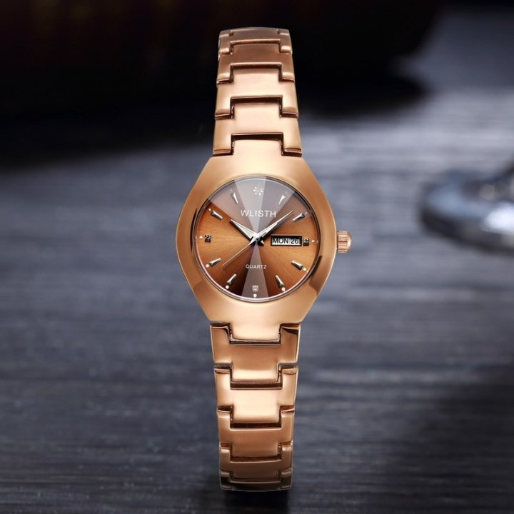 Wlisth Men Women Brand Couple Watch Alloy Watchband Double Calendar Waterproof Lovers Quartz Watches Brown for Women