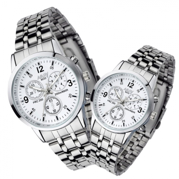 Nary Brand Fashion Couple Watch Stainless Steel Waterproof Lovers Classic Quartz Watches A Pair White
