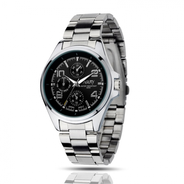 Nary Men Fashion Watch Multi-dial Alloy Stainless Steel Waterproof Male Classic Casual Quartz Watch Black