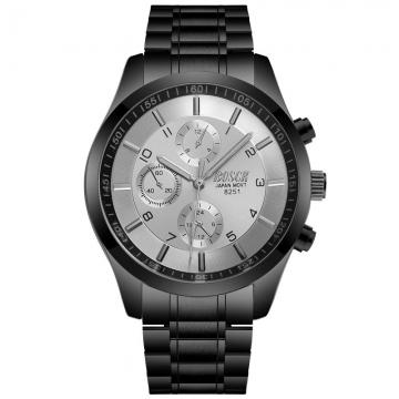 Bosck Men Brand Casual Sports Watch Stainless Steel Band Luminous Waterproof Male Quartz Watch Silver