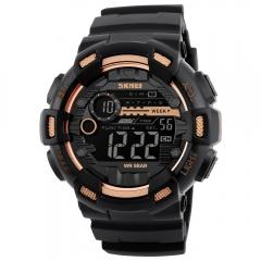 Skmei Men Sports Watches Dual Time Stopwatch Countdown Luminous Waterproof Digital Sport Wristwatch Gold