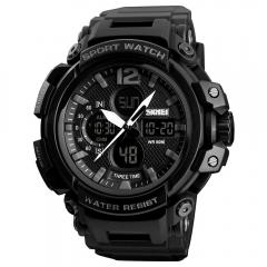 Skmei Men Sports Wristwatch Three Time Stopwatch Countdown Luminous Waterproof Outdoor Sport Watch Black