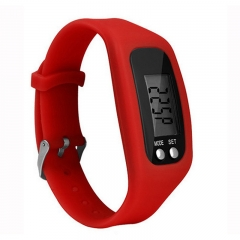 Licer Fashion Sports Bracelet Pedometer Calorie Sport Mileage Digital Tracker LED Fitness Wristwatch Red
