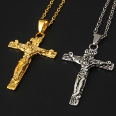 Men's Jesus Cross Vintage Necklace Christian Classic Necklace Jewelry Gold 60cm