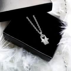 Fatima's Hand Mini Palm Amulet Women Necklace Clavicular Chain silver 47cm