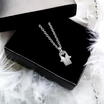 Fatima's Hand Mini Palm Amulet Women Necklace Clavicular Chain silver 47cm