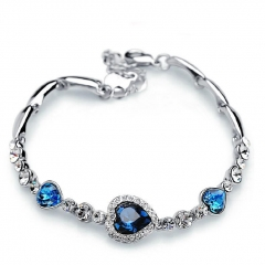 The Heart of The Ocean Love Heart-shaped Peach Zircon Crystal Bracelet Women Fashion Bracelet blue 17cm(adjustable)