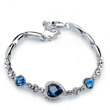 The Heart of The Ocean Love Heart-shaped Peach Zircon Crystal Bracelet Women Fashion Bracelet blue 17cm(adjustable)