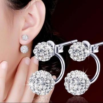Women Fashion Anti-allergy Silver Plated Earrings Ladies Double Rhinestone Balls Ear Stud Earrings silver 12mm