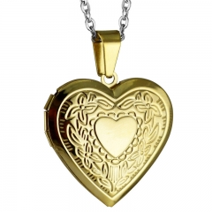 Women Love Hearts Heart-shaped Carve Photo Frame Classic Titanium Steel Pendant Necklace Gold 50cm
