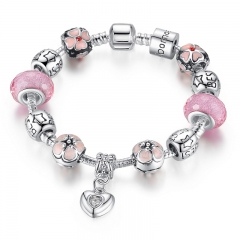 Bamoer 925 Silver Plated Heart Pendant Charm Bracelet with Cherry Blossom Pink Resin Beads Silver 17cm