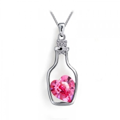 PRINLLA Women's Wish Bottle Crystal Pendant Necklace Heart-shaped Crystal Drifting Bottle Necklace Rose Red 45cm