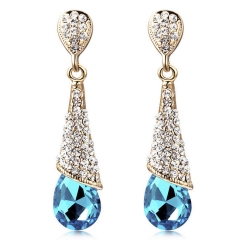 PRINLLA Women Fashion Water Drop Crystal Dangle Earrings Red Bride Wedding Drop Earrings Blue 45mm