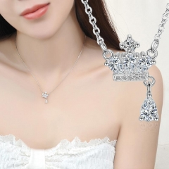PRINLLA Women Crown Rhinestone Pendant Necklace Ladies Short Clavicle Chain Ornaments Silver 45cm