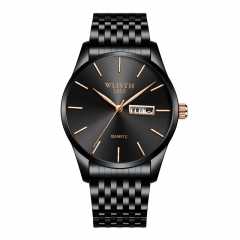 Wlisth Brand New Style Men's Business Quartz Watch Double Calendar Waterproof Male Casual Wristwatch Black