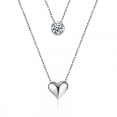 PRINLLA Women Heart-shaped Double-layer Necklace Ladies Fashion Temperament All-match Accessories Silver 45cm