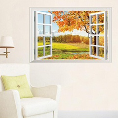 FH Removable Wall Stickers Wallpaper The Autumn Scenery Stickers For Children's Room /Living Room Colorful 87*57cm