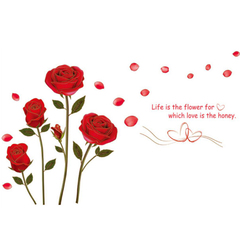 FH Removable Wall Stickers Wallpaper Lovely Roses WallStickers For Marriage room/Living room/Bedroom Red 120*75cm
