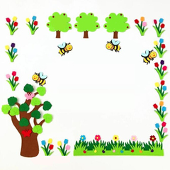 FH Removable Wall Foam Stickers The Flowers、FencesStickers For Children's Room /Kindergarten Colorful 11*58cm