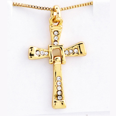 FH Brand Speed and Passion 8 Cross Pendant Men's Necklace With Jewelry Chain Accessories. Red One Size