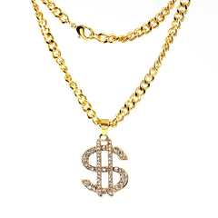 FH Men Pendent Hip hop New Fashion Dollar Chain Pendant Gold Necklace Men's Jewelry Gold One Size