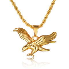 FH Fashion hot sell men's Necklace hawk Pendant For Men Gold one size