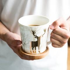 European style wapiti appliqu mug teacup milk cup coffee cup light No lid 650ml