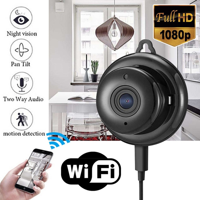 Mini Full HD 1080P Wireless WIFI IP Spy Camera Night Vision Camcorders Kits for Home Security CCTV black one size