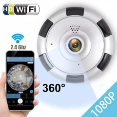 mini camera 360 network ip wireless wifi camera 1080P panoramic CCTV security camera night vision white one size