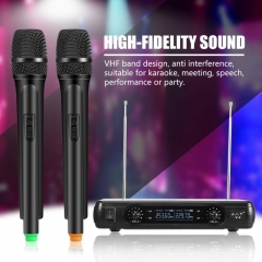 Dual Handheld VHF Wireless Microphones Dynamic LCD Receiver System For Karaoke KTV Party Speech