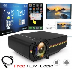 Mini Projector Wired Sync Display stable than WIFI Beamer For Home Theatre Movie AC3 HDMI VGA USB Black Free HDMI Cable