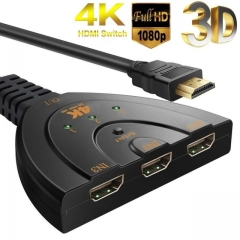 3D Mini 3 Port HDMI Switch 1.4b 4K Switcher HDMI Splitter 1080P 3 in 1 out Port Hub for DVD TV PC 4K