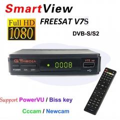 V7S HD DVB-S2 Satellite Receiver 1080P HD Receptor Support Cccam PowerVu YouTube Biss key TV Turner Black One size
