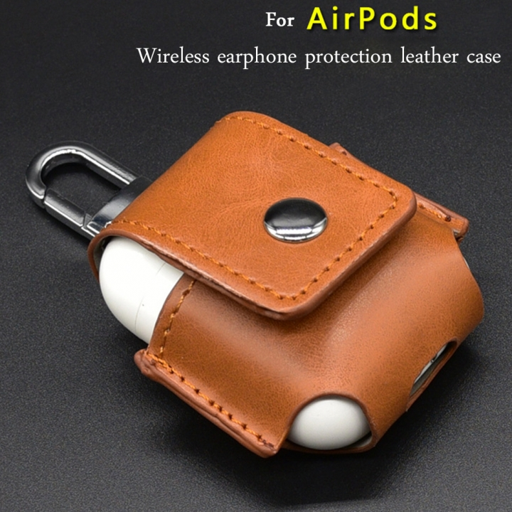 Earphone Case For Apple Airpods wireless earphone protection leather case Shockproof Protector Cover black one size