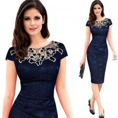 Hollow out Pencil Bodycon Dress Womens Elegant Vintage Embroidery Casual Work Party Dress blue S