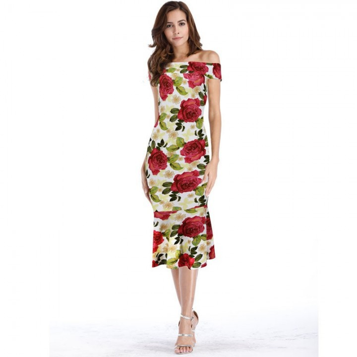 c584811d1fe83 Elegant Vintage Rockabilly Floral Flower Print Slash Neck Slim Party Pencil  Fitted Casual Dress red S
