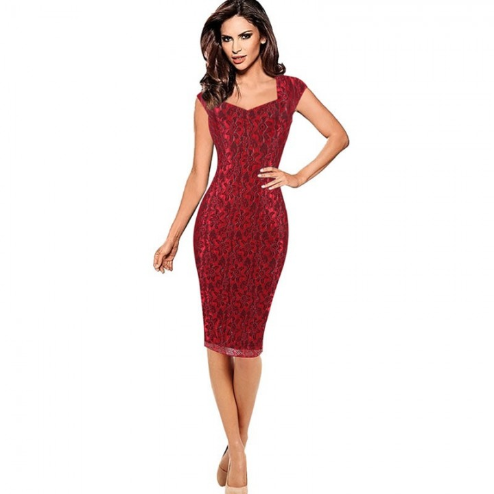 9e542e6d8843 Elegant Vintage Pencil Bodycon Evening Party Dress Casual Work Office  Business Dress red S