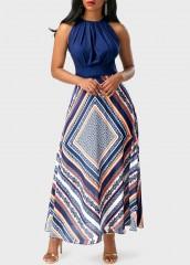 Summer Floral Printed Sleeveless Patchwork Beach Casual Women Long Dress
