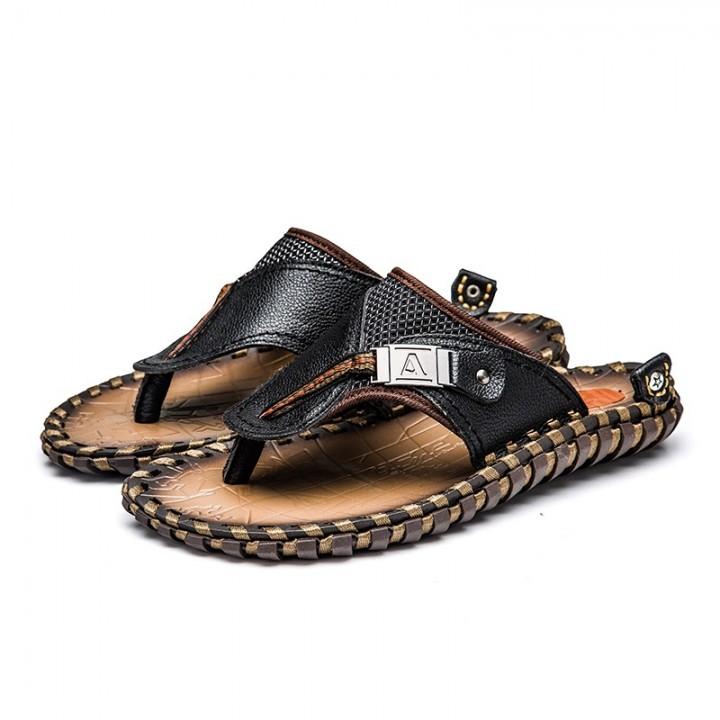 1600309209490 New Men s Flip Flops Genuine Leather Slippers Summer Fashion Beach Sandals  Shoes For Men black 8