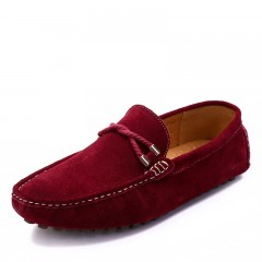 Summer genuine leather men  casual driving shoes leather mocassin soft breathable  flats  loafers winered 6.5