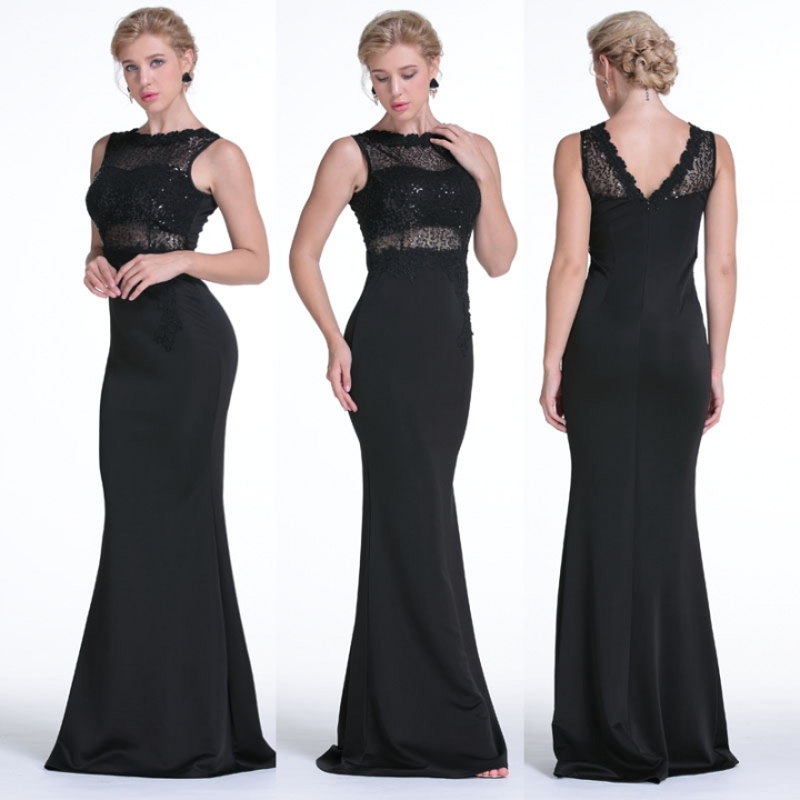 a7ed6721c3 Lace Evening Clothing Sleeveless Sequins Long Maxi Formal