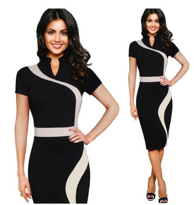 24588aa460cc Vfemage Womens Vintage Contrast Colorblock Slimming Wear To Work Office  Business Casual Party Pencil Sheath Bodycon Dress