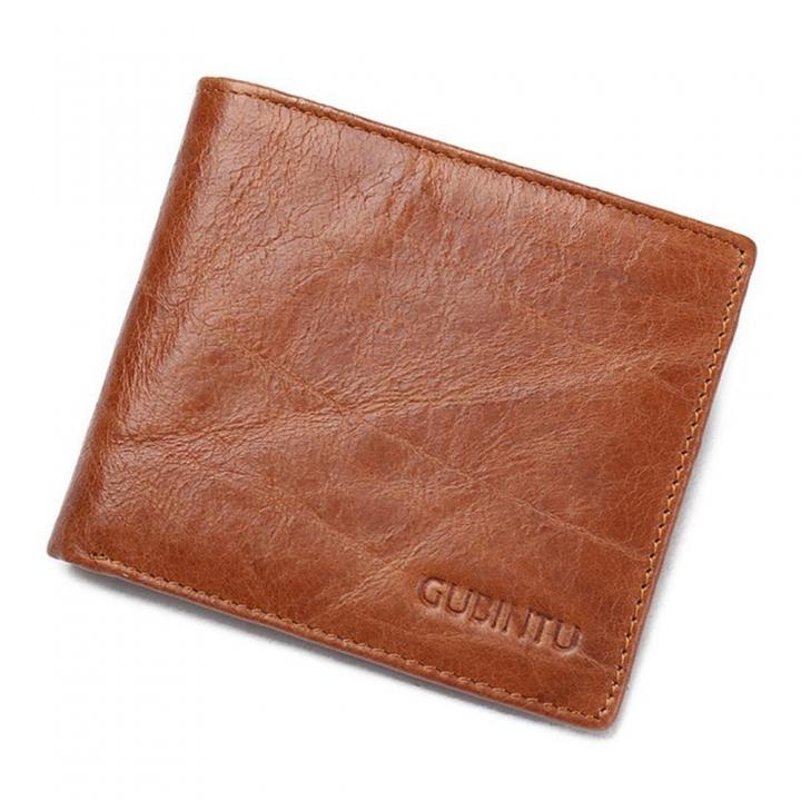 ddab3ee024d8 Fashion Men Genuine Leather Wallets Credit Card RFID Blocking Vintage  Casual Cowhide Purse brown one size