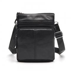Genuine Leather Men Bag Cowhide Single Shoulder Bag Oblique Satchel Large Capacity Vertical Bag black one size