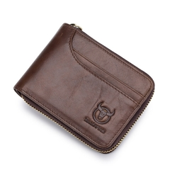 Men Wallet Cowhide Coin Purse Male Short Wallet Clutch Genuine Leather Wallets Card Bag coffee one size