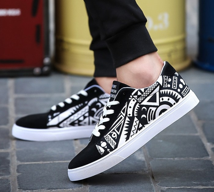 52849154352c Item specifics  Brand  Fashion men lace-up trend flat sole casual travel  sports canvas sneakers shoes